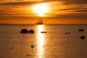 Old Tall Sail Ship Silhouette