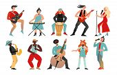 Musicians. Rock Band, Pop Musician. Music Instruments Guitarists Drummers, Singers Artists With Micr poster