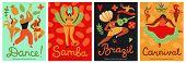 Brazil Carnival. Samba, Latin Trendy Party. Fashion Brazilian Dance Festival Abstract Flyers. Fun Mu poster