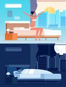 Girl Wake Up. Female Character Sleeping In Bed Morning Waking Vector Cartoon Character. Woman Sleep  poster