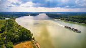 Tourist Ship On Danube River. Sunny And Rainy Mixed Weather. poster