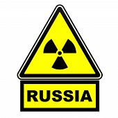 Radioactive Hazard In Russia. Warning Sign. A Warning Yellow Sign Of Radioactive Hazard With The Bla poster