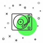 Black Line Vinyl Player With A Vinyl Disk Icon Isolated On White Background. Vector Illustration poster