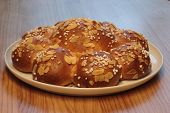 Traditional Swiss Three King Cake. On 6th Of January Swiss Eat This Bread And There Is A Little King poster