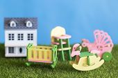 Childhood In The Courtyard Of His Own House Concept, Childhood, Crib, Highchair, Baby Carriage Acces poster