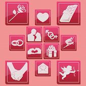 valentine days icon set glossy pictogram