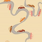 Seamless background with road and cars