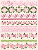 Set Of Lace Paper With Roses, Vector