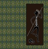 A Illustration Based On Aboriginal Style Of Dot Painting Depicting Hunter