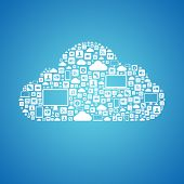 stock photo of transfer  - Abstract vector concept of cloud computing with many graphic icons which form a cloud shape - JPG
