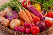 image of food crops  - Basket full of fresh, nutritious and delicious vegetables