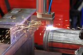 stock photo of welding  - Close up shot of pipe gas welding - JPG