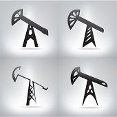 Silhouette of oil pump , vector illustration