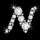 Luxury jewelry alphabet diamonds N