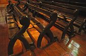 stock photo of pews  - Old fashioned wooden church pews - JPG