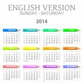 2014 Crayons Calendar English Version Sun � Sat