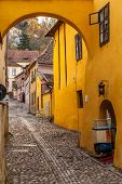 Medieval Street From Sighisoara, Romania