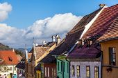 Medieval Street View In Sighisoara, Transylvania, Founded By German Colonists