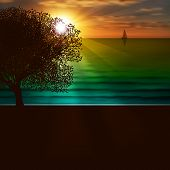 Abstract Nature Background With Sea Sunrise