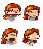 Cartoon Girl's Moods