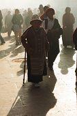 Mature Tibetan Woman Barkhor Jokhang Lhasa Smoke