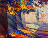 picture of acrylic painting  - Original oil painting showing beautiful sunset landscape.Autumn forest and sun rays