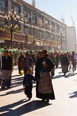 Tibetan Mother Child Lhasa Walking Barkhor Crowd