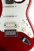 stock photo of stratocaster  - red body electric guitar rock jazz blue - JPG