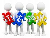 picture of merge  - 3d white business persons with pieces of puzzle with the word team - JPG