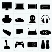 Computer equipment's silhouettes