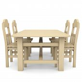 stock photo of illiteracy  - Wooden table and chairs - JPG