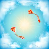Sky Vector Design, White Clouds, Sun, Flying Kites