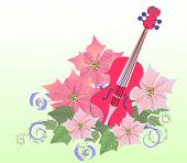 Red Violin And Poinsettia