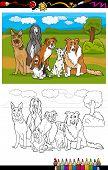 Dibujos animados de razas de perros para colorear libro