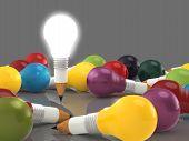 Desenho a lápis de idéia e lâmpada conceito criativo e liderança