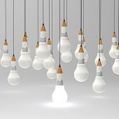 stock photo of intersection  - drawing idea pencil and light bulb concept creative and leadership as concept - JPG