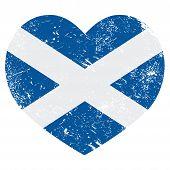 Bandera de corazón retro de Escocia
