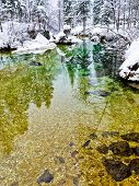 Winter reflections in a slow mountain stream