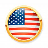 stock photo of usa flag  - A fully scalable vector illustration of USA flag button - JPG