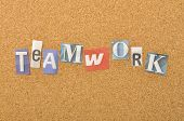 Teamwork Word Made From Newspaper Letter