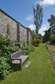 Garden Bench In Walled Garden