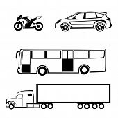 stock photo of motor coach  - Bike outline car outline bus outline truck - JPG