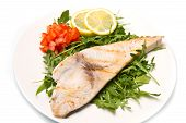 picture of swordfish  - roasted swordfish with lemon salad and tomatoes on white dish - JPG