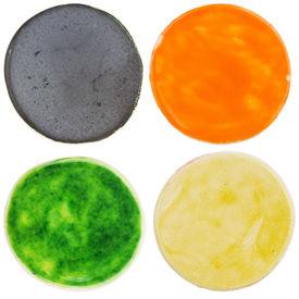 image of raku  - Handmade glazed pottery circles isolated on white - JPG