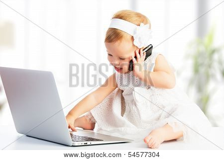 Baby Girl With Computer Laptop,  Mobile Phone poster