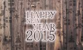 Wooden Happy New Year Label With Presents