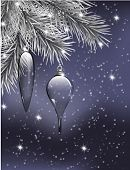 stock photo of teardrop  - Silver fir branches decorated with 2 glass teardrops on blue background with falling snow and lights Christmas illustration - JPG