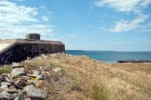 stock photo of emplacements  - A WW2 Pillbox situated on the swedish coastline at Torekov. ** Note: Slight blurriness, best at smaller sizes - JPG