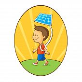Cartoon boy using solar energy