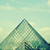 PARIS, FRANCE- MAY 17: Detail of the large glass pyramid of the Louvre Museum on May 17, 2013. The L